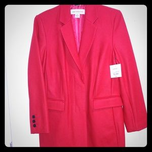 NWT Liz Claiborne Long Red Coat - Large Tall